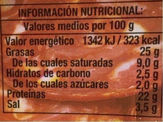 Chorizo tradición extra lonchas sin gluten - Informació nutricional - es