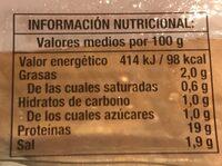Lonchas pechuga de pavo - Informations nutritionnelles - es