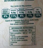 Vegalia - Burger vegetariana de espinacas - Informació nutricional - es