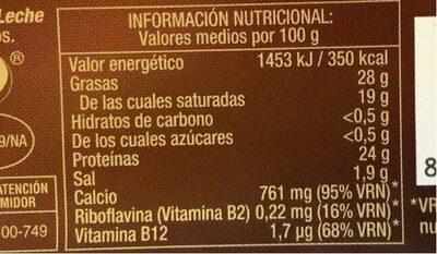 Queso Gouda Lonchas - Voedingswaarden