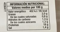 Jamon cocido extra - Informations nutritionnelles - es