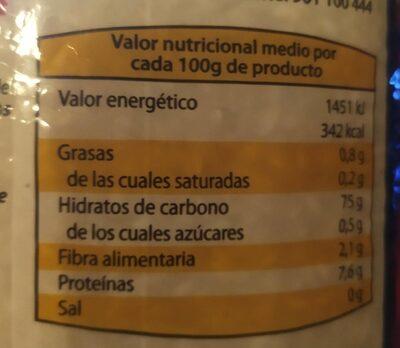 Arroz extra de valencia - Informations nutritionnelles - fr