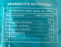 Arros basmati - Información nutricional