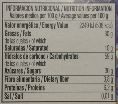 Almendras rellenas - Informació nutricional - fr