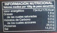Gourmet filetes de anchoa del cantábrico aceite de oliva - Informació nutricional - es