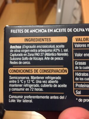 Filetes de anchoa - Ingredients - es
