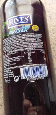Licor concentrado mora sin alcohol - Voedigswaarden