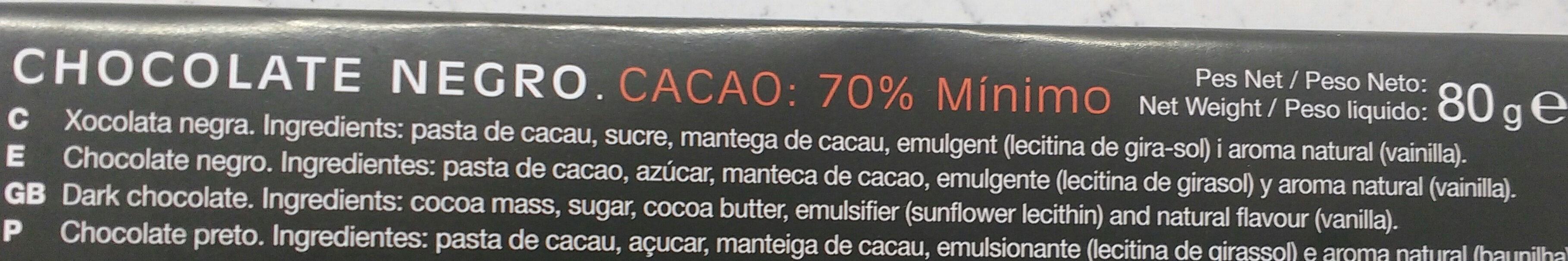 Chocolate negro 70% - Ingrediënten - es