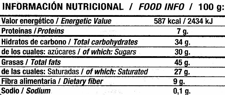 Tableta de chocolate negro para cobertura 70% cacao - Informació nutricional - es