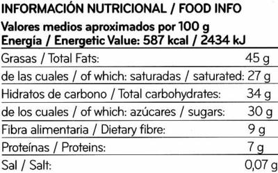 Tableta de chocolate negro 70% cacao - Informació nutricional - es