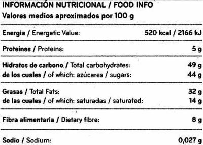 Tableta de chocolate negro con almendras 40% cacao - Nutrition facts - es