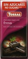 Tableta de chocolate negro edulcorado con fresa 50% cacao - Product - es