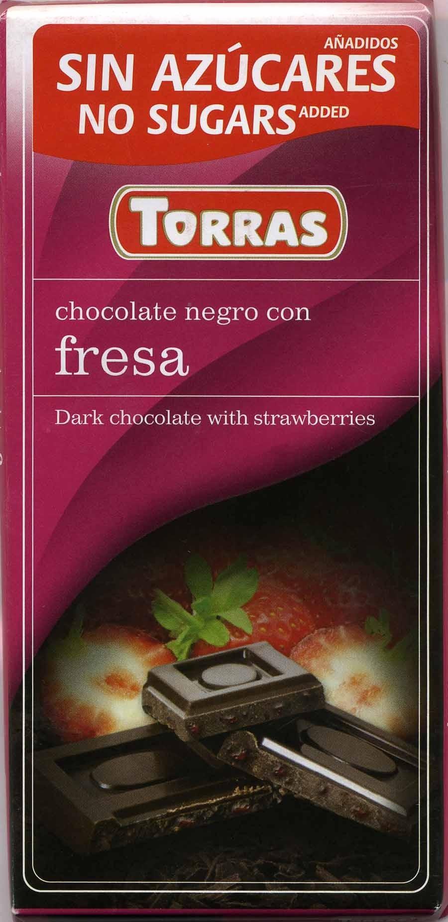 Tableta de chocolate negro edulcorado con fresa 50% cacao - Producto - es