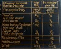 Chocolate Zero Fondant Coco 0% azúcares añadidos - Informació nutricional - es
