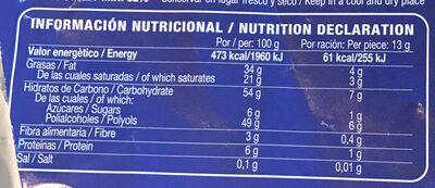 Chocolate con leche sin azúcares - Información nutricional