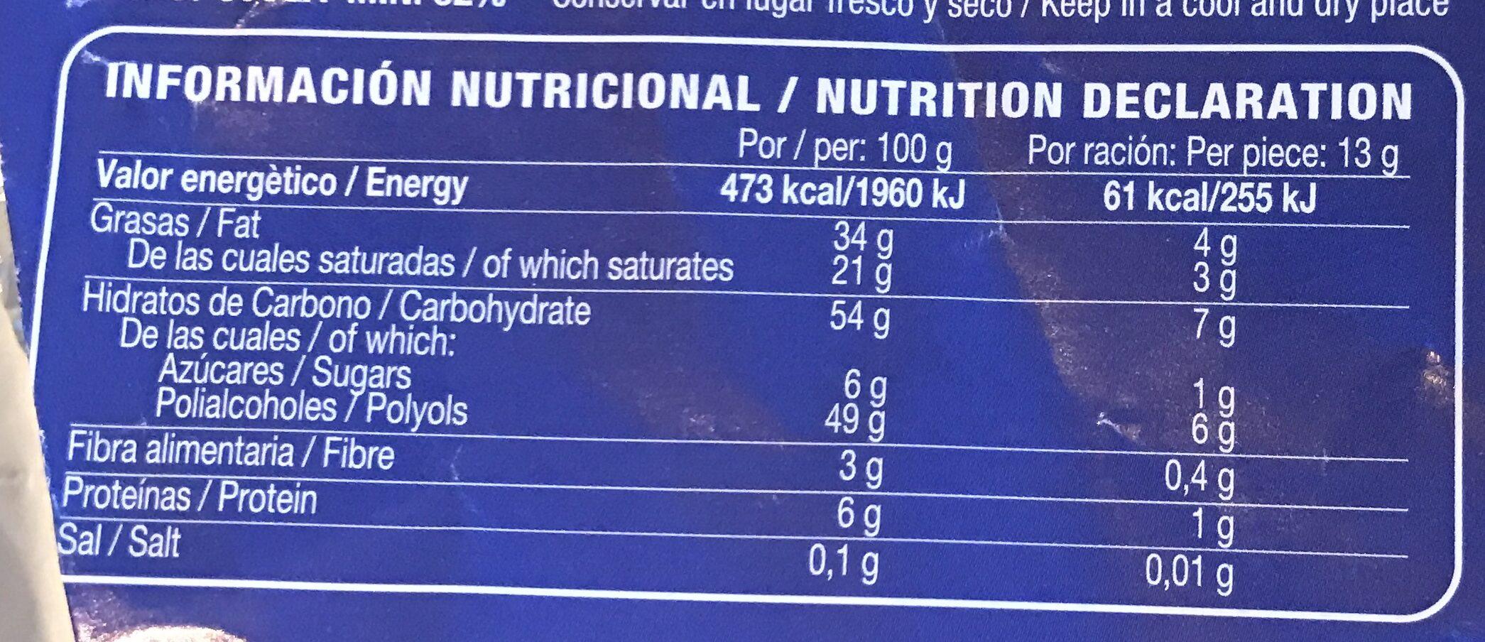 Chocolate con leche - Informació nutricional