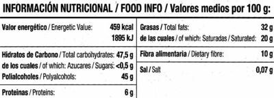 Tableta de chocolate negro edulcorado 52% cacao - Información nutricional