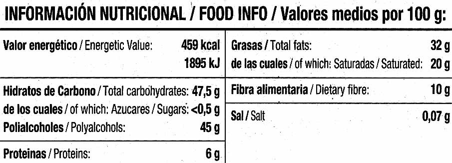 Tableta de chocolate negro edulcorado 52% cacao - Nutrition facts - es