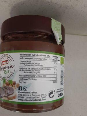 Crema de avellanas - Información nutricional - es
