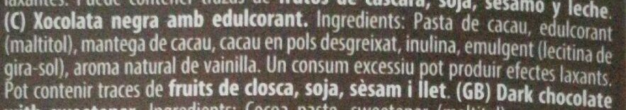 Torras Dark Chocolate 72% Cacao - Ingredients - ca