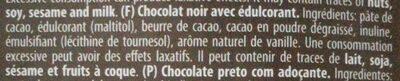 Torras Dark Chocolate 72% Cacao - Ingrédients - fr