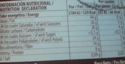Torras Dark Chocolate 72% Cacao - Informació nutricional - es