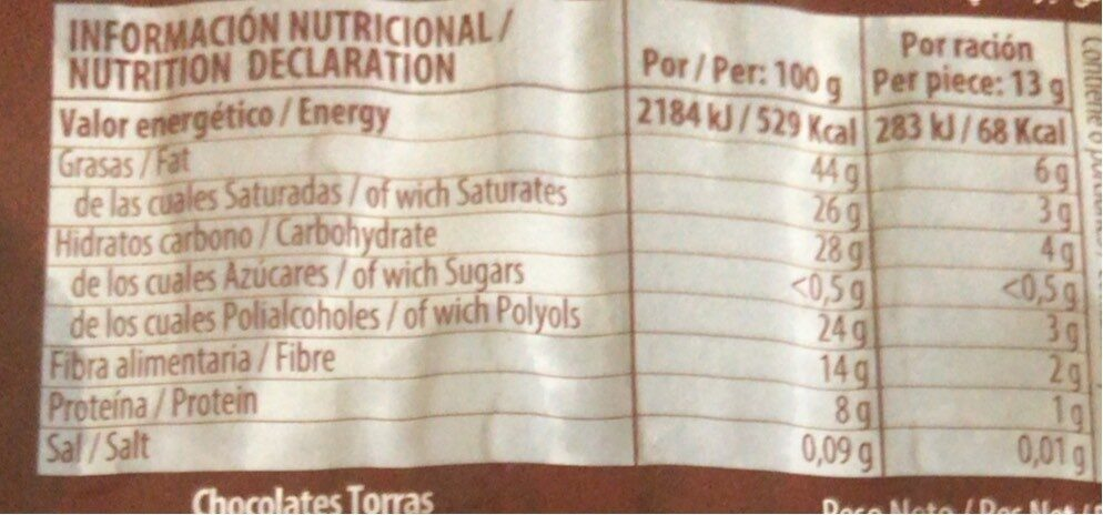 Torras Dark Chocolate 72% Cacao - Informations nutritionnelles - fr