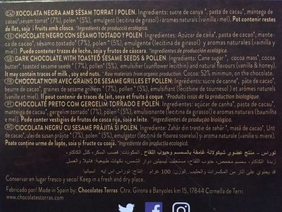 Xocolata Negre Amb Sèsam Torrat I Pol ·len Eco Torras - Ingredients