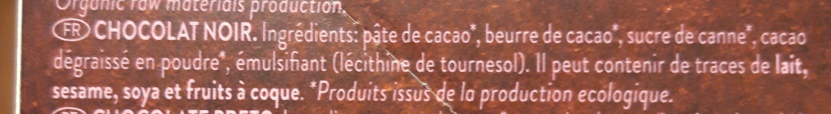 Organic chocolate criollo negro cacao ecológico y sin gluten - Ingredients