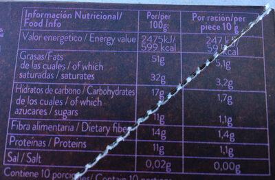 Organic chocolate criollo negro cacao ecológico y sin gluten - Nutrition facts