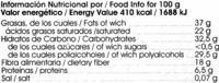 Tableta de chocolate negro edulcorado con estevia 60% cacao - Información nutricional - es