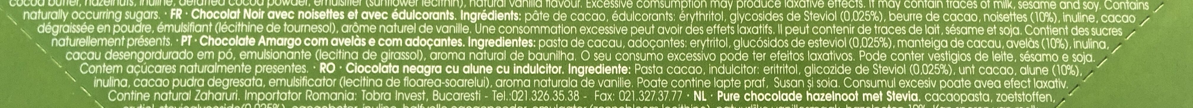 Chocolate negro con avellanas - Ingredients