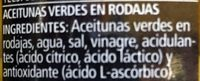 Ser Rodajas Aceitunas Verdes 260 / 150G - Ingredientes - es