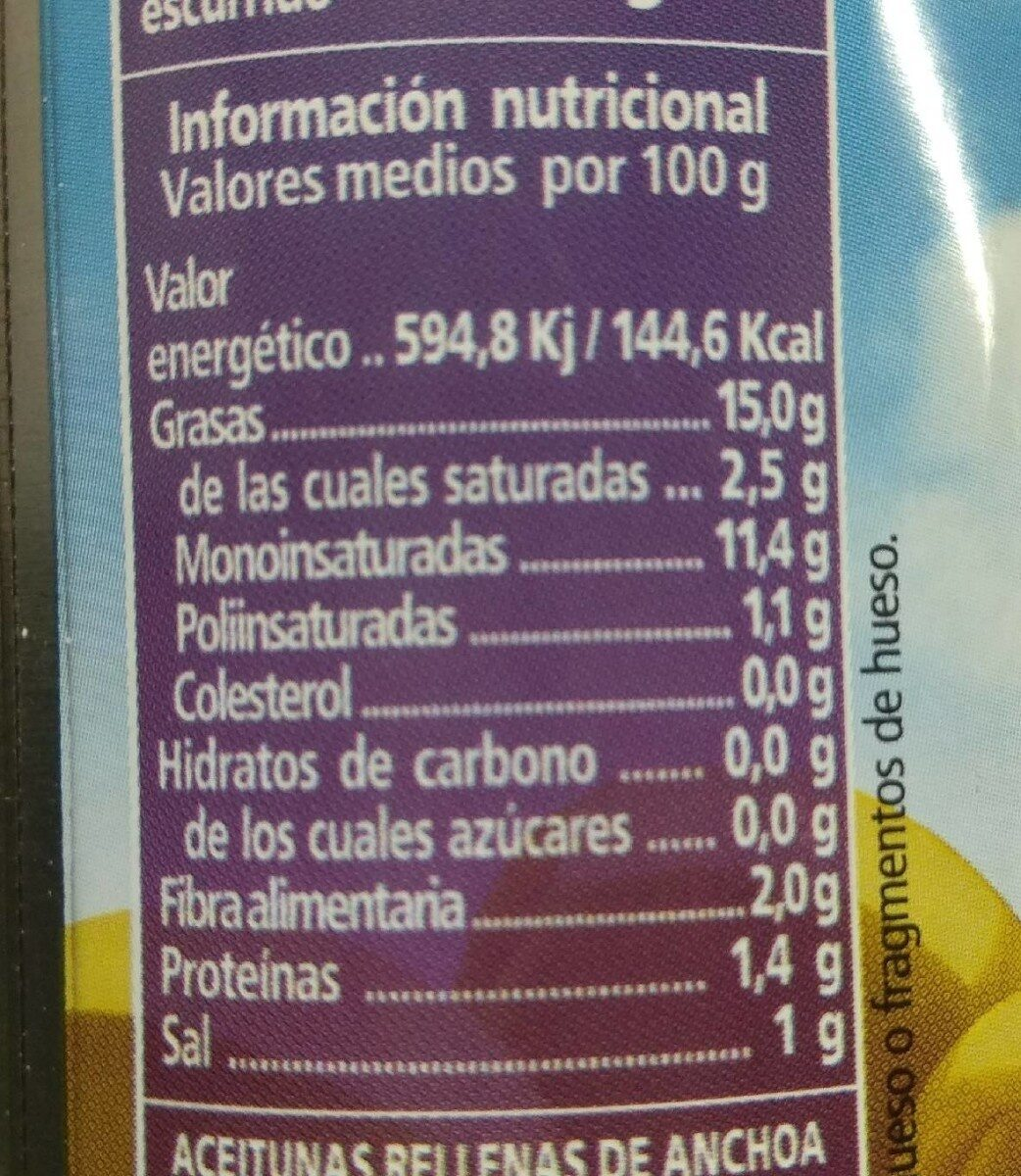 Aceitunas benefit - Nutrition facts - fr