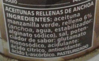 Aceituna rellenas de anchoa - Ingredientes - es