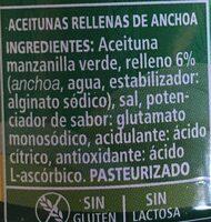 Aceituna Rellena De Anchoas - Ingredients - es