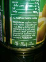 Aceituna Rellena De Anchoas - Ingrédients - fr