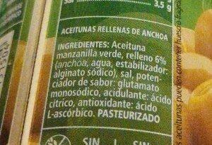Aceitunas rellenas de anchoa - Ingredientes - es