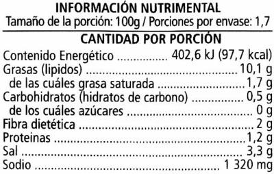 """Aceitunas verdes rellenas de pasta de limón """"Serpis"""" - Informació nutricional"""