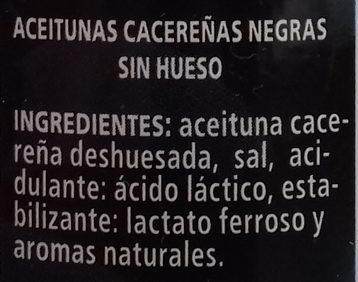 Aceitunas cacereñas negras sin hueso - Ingredientes