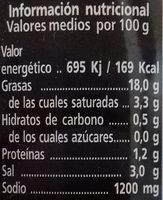 Aceitunas negras cacereñas sin hueso - Informations nutritionnelles - es