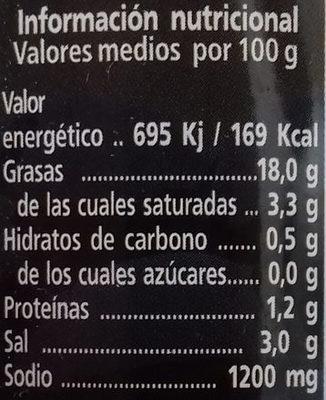 Aceitunas cacereñas negras sin hueso - Información nutricional