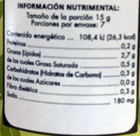 Aceitunas Verdes Sin Hueso - Informations nutritionnelles - es