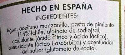 Aceitunas rellenas de pasta de pimiento - Ingredientes - es