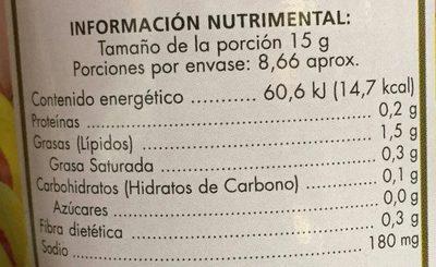 Aceitunas rellenas de pasta de pimiento - Información nutricional