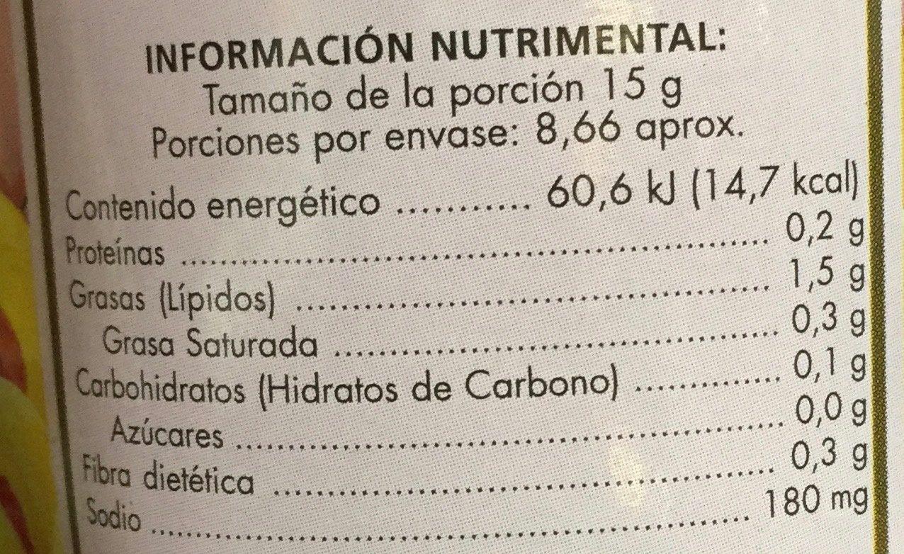 Aceitunas rellenas de pasta de pimiento - Información nutricional - es