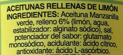 Aceitunas rellenas al limón lata 130 g - Ingredients - es