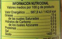 Aceitunas rellenas al limón lata 130 g - Informació nutricional - es