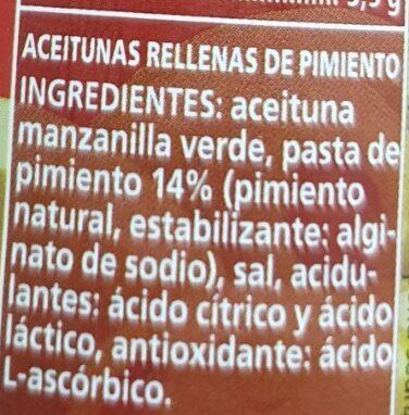 Aceitunas rellenas de pimiento - Ingredienti - es