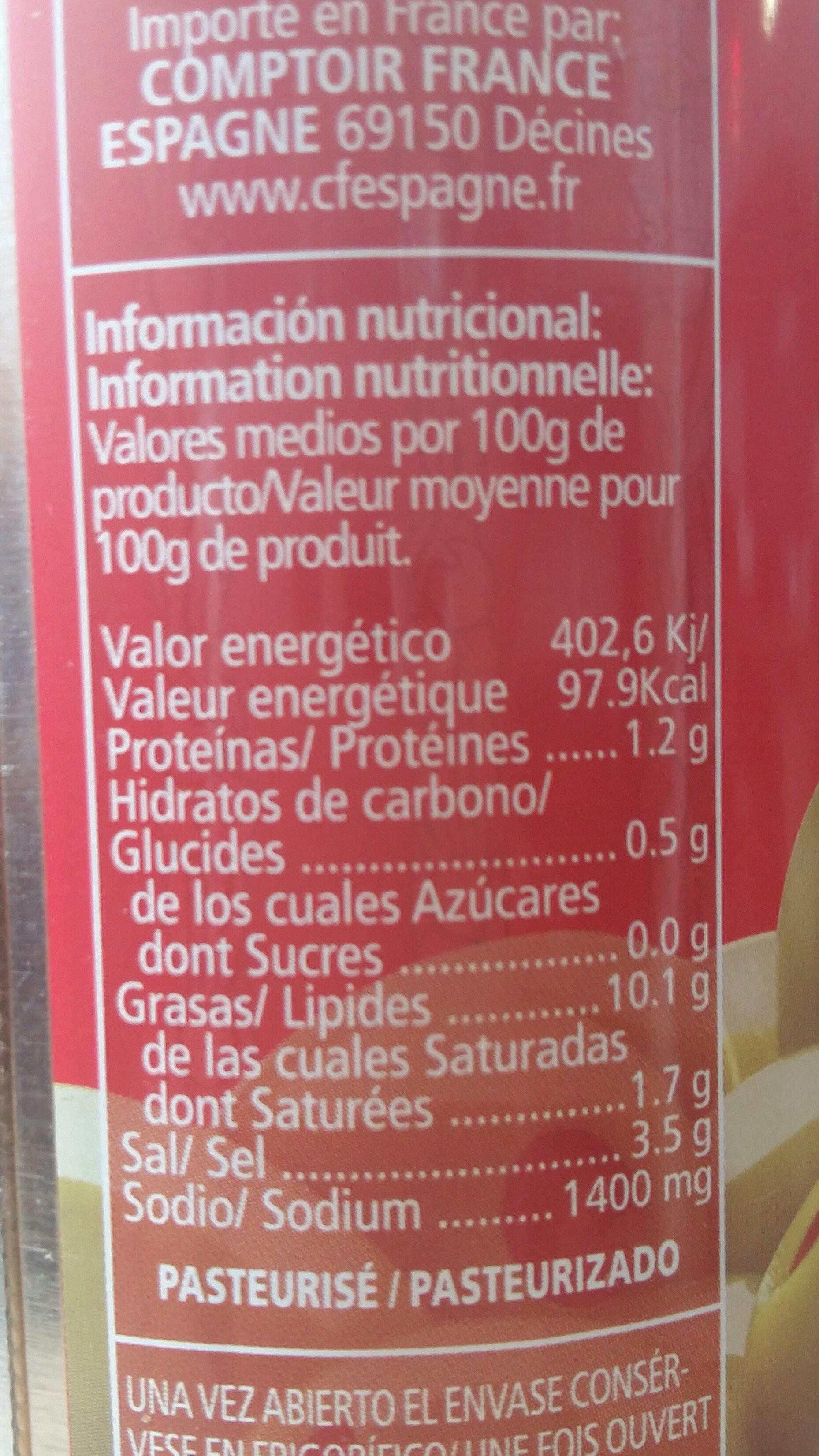 Aceitunas rellenas de pimiento - Informations nutritionnelles - fr